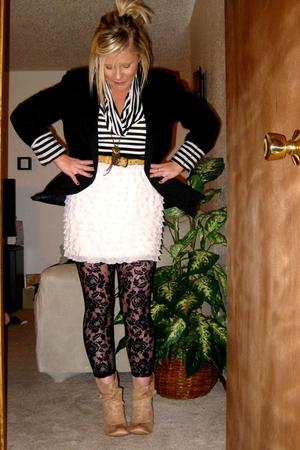 black blazer - thrifted - thrifted belt - Target skirt - black Express tights -