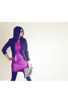 black H&M blazer - magenta Topshop dress - dark gray Azul by Moussy bag