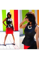 black Bershka top - black Bershka bag - black Aldo heels - red Zara skirt