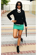 green H&M skirt - black H&M sweater - black Aldo pumps