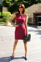 black Bershka bag - maroon H&M dress - black Aldo pumps - black H&M belt
