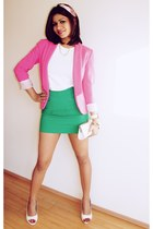 bubble gum blazer - white Charles & Keith shoes - white Zara t-shirt