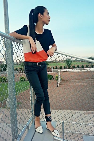 carrot orange color block Nordstrom shirt - black bandana Walmart scarf
