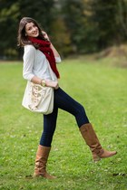 crimson Steve Madden boots - off white Jacob sweater - red Simons scarf