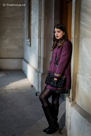 black le chateau bag - purple Nisse coat - black piperlime skirt