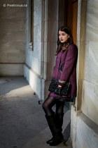 black le chateau bag - purple Nisse coat - black piperlime skirt