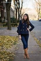 navy Nisse coat - brown Steve Madden boots - navy Gap jeans