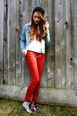 ruby red denim Forever21 jeans - knit urban outiftters hat