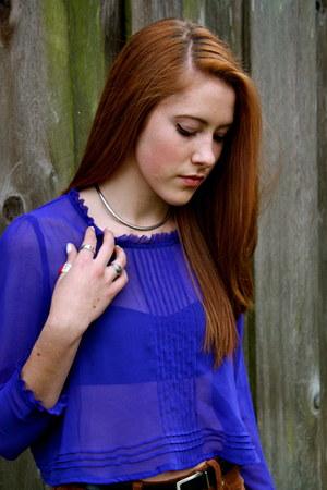 blue chiffon blouse - brown pants