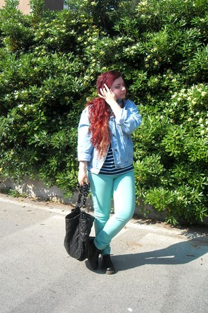 denim vintage jacket - striped vintage sweater - mint Stradivarius pants