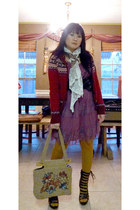 Parisian boots - Target dress - Charlotte Russe scarf - thrifted 50 cent purse -