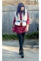 Balenciaga Imi boots - vintage vest - HUE tights - vintage belt - lucky shirt