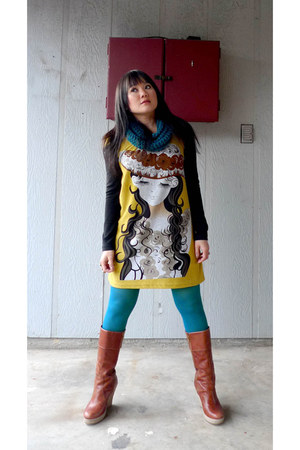 brown leather Nine West boots - JAPAN STYLE dress - teal Etsy scarf - teal We Lo