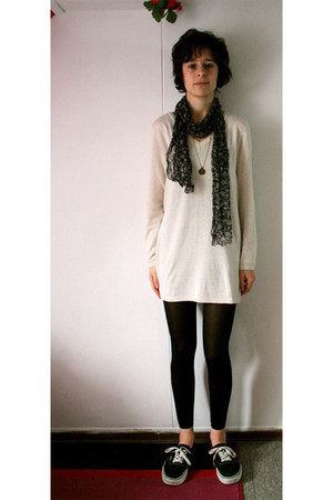 dark gray scarf - beige H&M dress - light brown necklace - black Vans sneakers