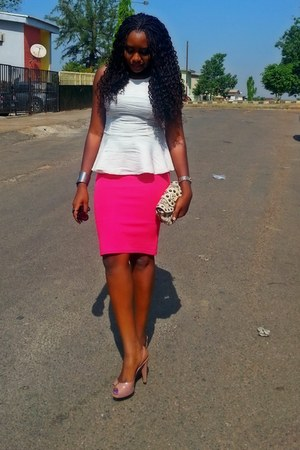 salmon Louis Vuitton heels - Guess purse - H&M blouse - hot pink asos skirt