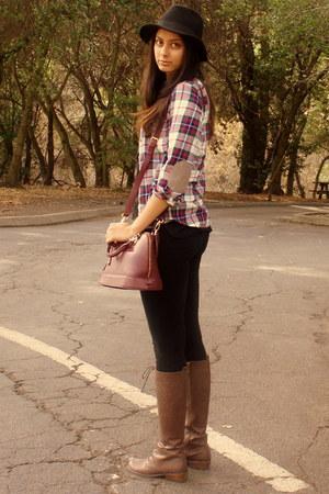 H&M shirt - Dailylook boots - lulus bag