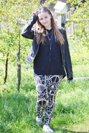 black Diverse jacket - black H&M leggings - black Stradivarius shirt