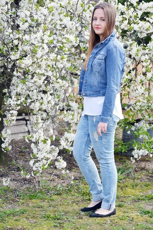 sky blue H&M jeans - navy H&M jacket - white Mohito shirt