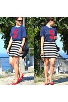 pull&bear t-shirt - Bershka shirt - vintage skirt - Zara heels