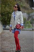 vintage top - calvin klein jacket - Mudo shirt - Mango bag