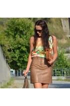 vintage skirt - romwe bag - ROMAN top - Zara heels