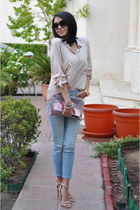 light blue Zara jeans - beige Bershka shirt - iconic bag