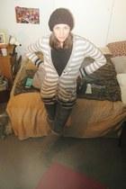 Dolce Vita boots - crochet rebecca urstadt hat - BCBGeneration sweater - print e