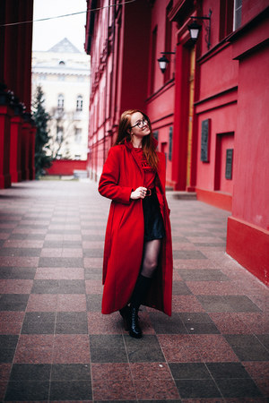 dark gray leather Bershka boots - ruby red cashmere Topshop coat