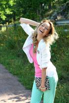 Zara blazer - leopard clutch H&M bag