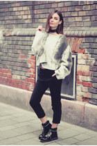 heather gray Nubu sweater - black combat boots caterpillar boots