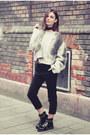 Black-combat-boots-caterpillar-boots-heather-gray-nubu-sweater