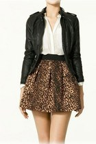 *free ship* leopard print pleated skater skirt - 1743966125