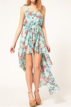 *free ship* floral print high low chiffon dress