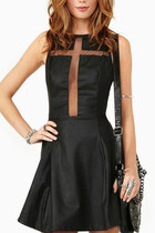 *free ship* leather and mesh front cross sexy skater dress party club summer