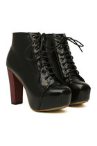 *free ship* sexy Pu leather platform boots - black - SKU105838