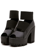 *free ship* harajuku black platform sandals roman gladiator - 1779498144