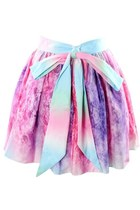 *free ship* harajuku pastel galaxy pleated skater skirt with back bow - 19910648