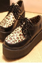*free ship* women platform creeper shoes leopard print - black - 1776594648