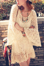 Boho chic gypsy fringe lace top blouse hippie vintage retro cute long top dress