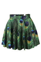 *free ship* peacock feather print pleated mini skater skirt - 1947734559