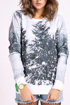 *free ship* Women long sleeves snow forest print sweatshirt sweater jumper