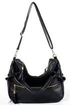 *free ship* PU leather black tassel and zipper shoulder bag - 18486