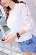 *free ship* lace sleeves white sweatshirt