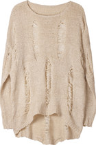 Loose fit casual ripped torn sweater jumper - beige