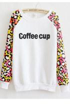 *free ship* Coffee cup leopard print kawaii sweatshirt sweater harajuku