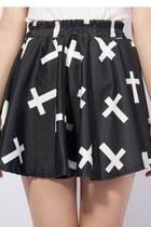 *free ship* black and white cross print pleated mini skater skirt - 1597587817