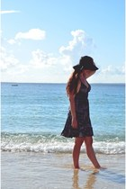 black Forever 21 hat - black Forever 21 dress - silver Boutique in Hawaii ring