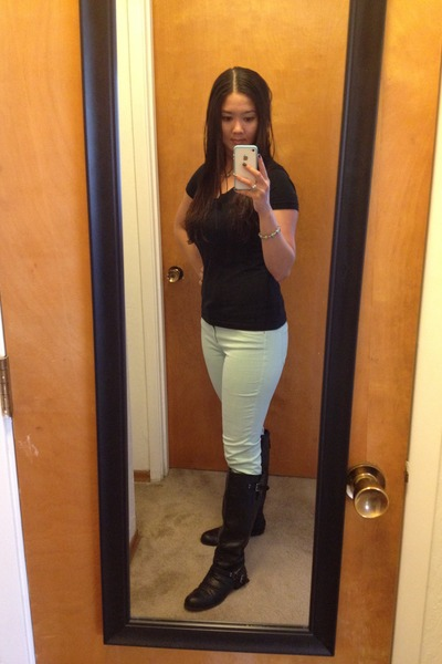 black Boutique in SF boots - black Target shirt - lime green Zara pants