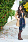 Dark-brown-riding-zappos-boots-tan-asymetrical-banana-republic-coat