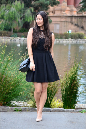 black skater Finn Boutique dress - black cross body Chanel purse